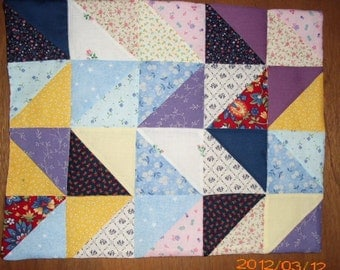 SALE - Patchwork Quilt Reversible Blanket Bedding for AG Doll Bed or any other 18 inch doll bed  Machine Quilted