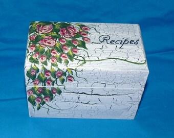 Hand Painted Recipe Box Custom Recipe Box Decorative Personalized 4x6 Recipe Storage Wooden Shabby Chic Box Wedding Bridal Shower Gift