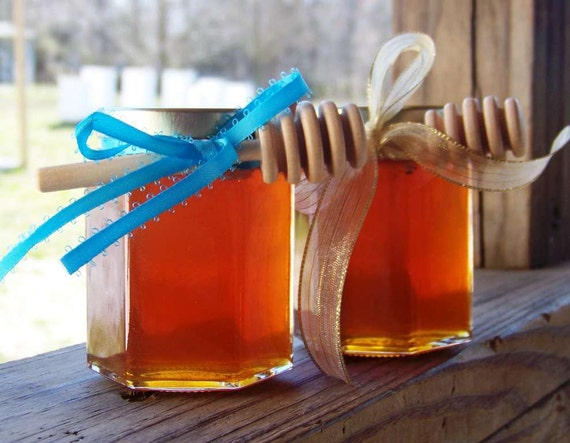 Unique 5oz Jars of Amber Raw Honey Gift Set of 2 Jars Edible Unfiltered Wildflower Housewarming Wedding Bridal Shower Gift