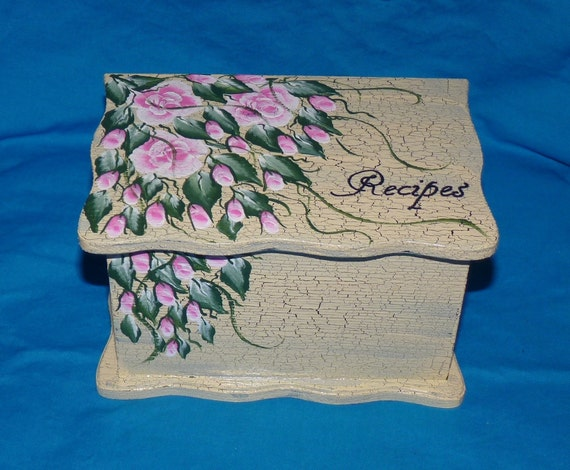 Hand Painted Recipe Box Decorative Personalized Wooden Recipe Box Pink Roses Wedding Recipe Box Distressed Advice Guest Book Box