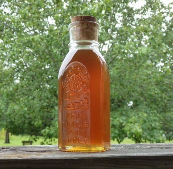 Raw Wildflower Honey, Tennessee Wildflower 1/2 lb Antique Style Jar Raw Pure Honey, 8oz Honey
