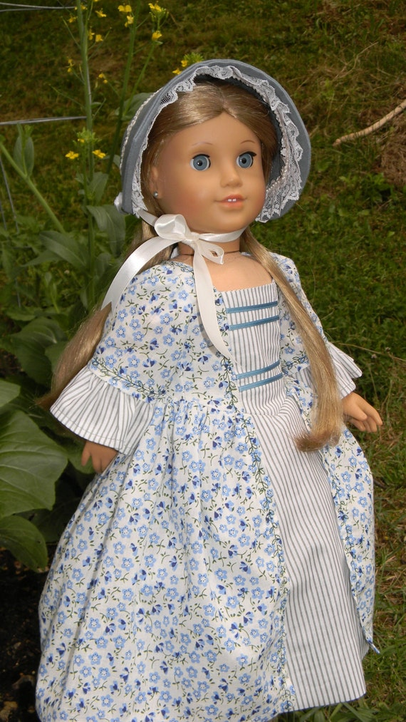 "18"" Doll Dress Blue Floral print with Hat for american girl or other 18"" dolls Colonial"