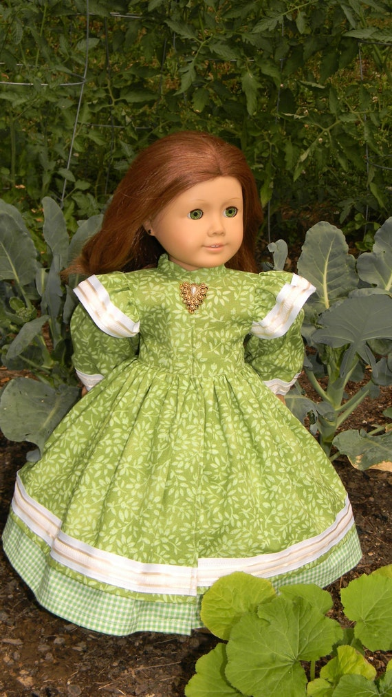 18 inch doll gown green garden gown for american girl or other for Garden tools for 18 inch doll