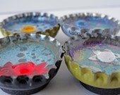 Upcycled Bottlecap Magnets, Pretty Blue, Set of Four