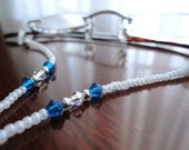 Pearl White Eyeglass Holder with Royal Blue Crystals - Eyeglass Leash Eyeglass Chain Beaded Glasses Necklace Lanyard for Reading Glasses