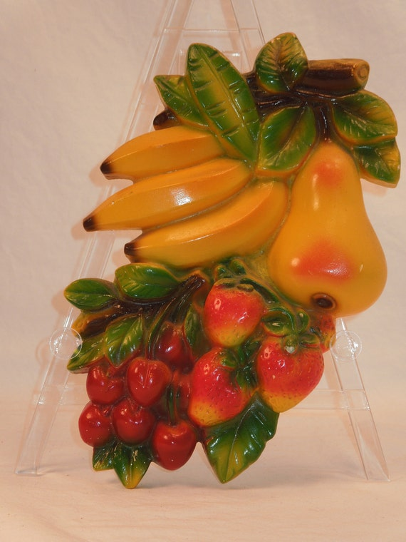Vintage Fruit Wall Decor : Vintage chalkware fruit wall decor by raspberryhillvintage