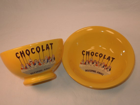 French Chocolate Bowl and Plate Set