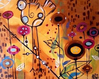 Pop Garden Art Print  with Birds by Natasha Wescoat 8x10 12x16 13x19 16x20
