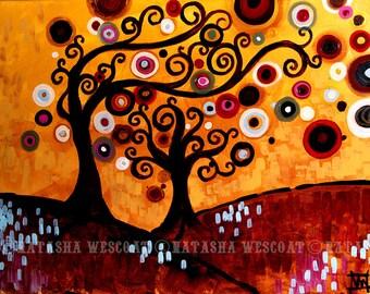 Family Tree Folk Art Print  Protection 6 by Natasha Wescoat - Swirly 8x10 12x16 13x19 16x20