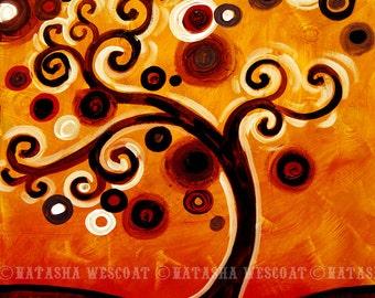 Modern Folk Swirly Tree Fine Art Print  Peaceful Hill by Natasha Wescoat 8x10 12x16 13x19 16x20