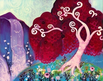 Maple Swirly Tree Folk Art Modern   Print Crimson King Falls by Natasha Wescoat 8x10 12x16 13x19 16x20