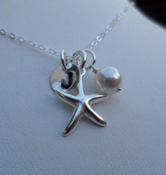 Custom Initial, Sterling Silver Starfish Charm, Swarovski Crystal Pearl, Bridesmaids Gifts, Flower Girl, June Birthstone