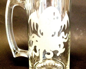 Cthulhu Lovecraft  Etched Stein Mug Glass Tentacles