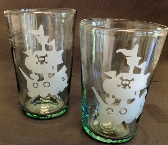 Shiver me Timbers Pirate Ship Skull and Crossbones  Etched Tumbler Set Light Green OOAK Set of 2