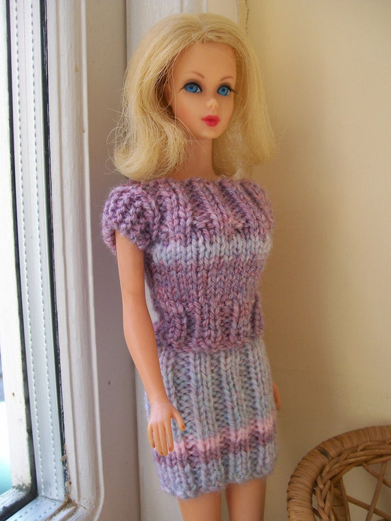 Barbie clothes - Mauve and blue short sleeved top and pencil skirt