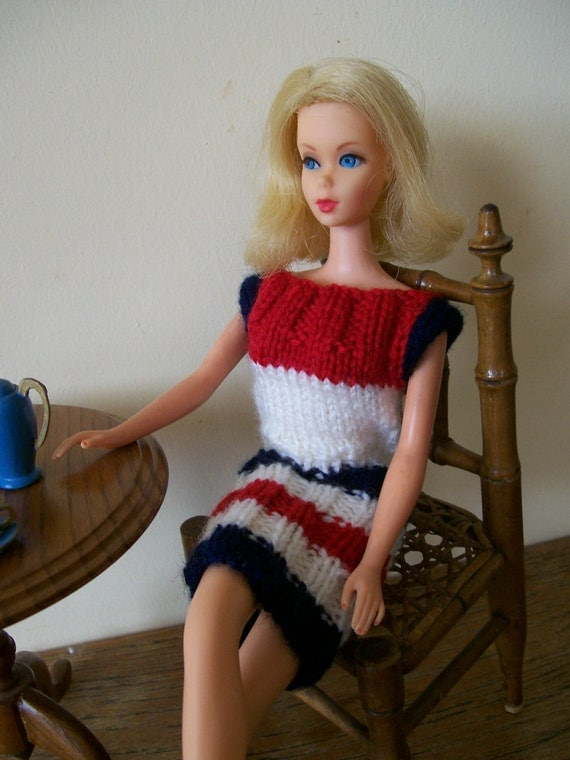 Barbie clothes - red, white and blue sleeveless dress
