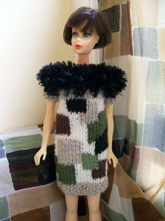 Barbie clothes - dress with black feather effect yoke