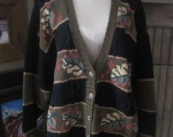 Casual Corner Hand Knitted Cardigan in XL