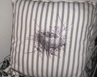 Upcycled Pottery Barn Pillow w/Baby Birds in a Nest - Sham AND Insert