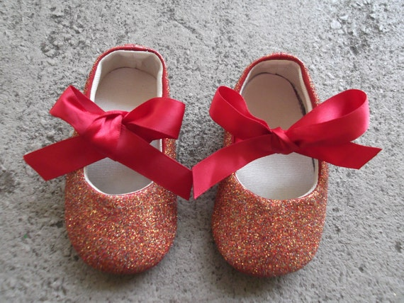 Size 3 Baby Flats in Party Mix Glitter with Red Bow for 6-9 Months