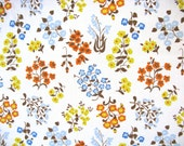 Vintage Sheet Fabric Fat Quarter - Blue Orange and Yellow Floral