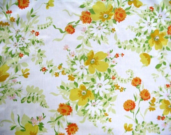 One Yard of Vintage Sheet Fabric  - Orange and White Sprinkled Floral - 1 yd