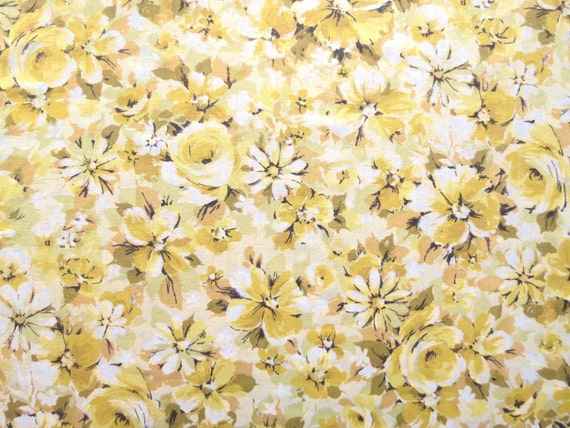 Half Yard Length of Vintage Sheet Fabric - Busy Yellow Flowers