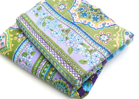 Vintage Sheet Set - Purple and Green Groovy Floral Stripe - 2 Piece Twin or Single Sheet Set