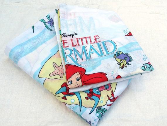 The Little Mermaid Twin or Single Sheet Set - Flat Sheet and Pillowcase