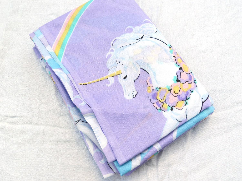 1980s Purple Unicorns and Rainbows Twin Flat Vintage Sheet