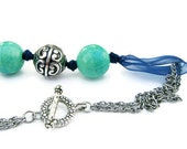 Big Beads Necklace Teal and Silver Fashion Jewelry