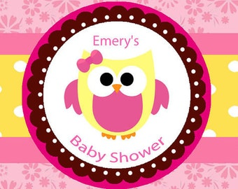 Water Bottle Label -Pink Baby Owl Party or Baby Shower Set of 20