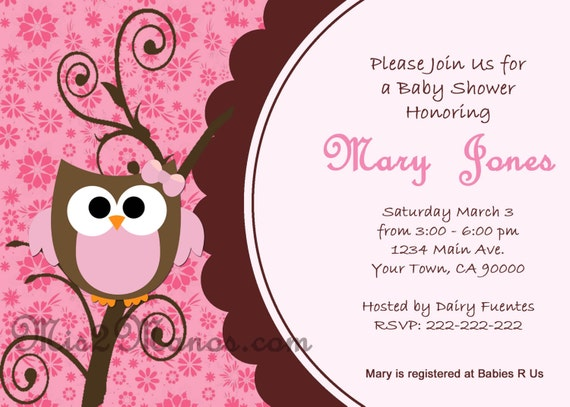 Baby Shower Owl Invitations Printable  Pink Owl custom order Party DIY Download and Print