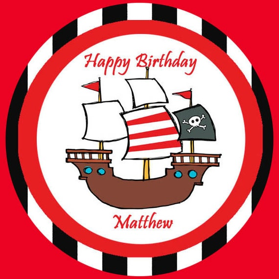 Cupcake Toppers Pirate Personalized  Round Cupcake Decorations Printable at Home 20 Tags