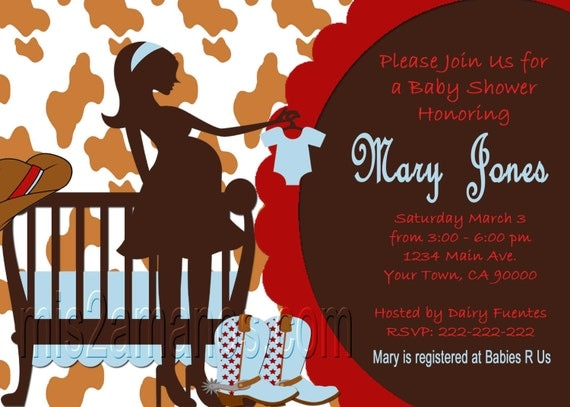 Western Baby Shower Invites  Cowboy Western Party Invitations Printable
