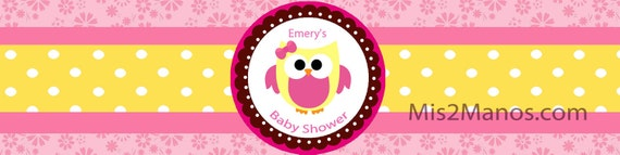Water Bottle Label - Owl Theme Pink Baby Owl PRINTABLE DIY Water Bottle Label DIY - Owl Theme Pink Baby Owl