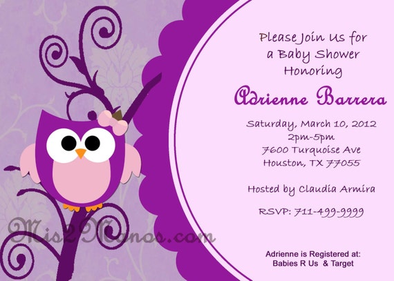 CUSTOM Order for Lan R. Baby Shower Owl Invite and Candy Wrapper Printable Purple Owl Download and Print