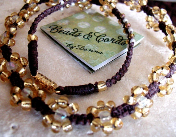 """Golden Glass Bead 15"""" Childs Necklace"""