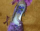 Purple Shoe, Midsummers Night dream, decor,taple topper,party favor,bling,prop