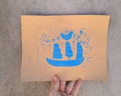 Blue Ship Linocut Blue and Brown Craft Paper Folk Art Block Print