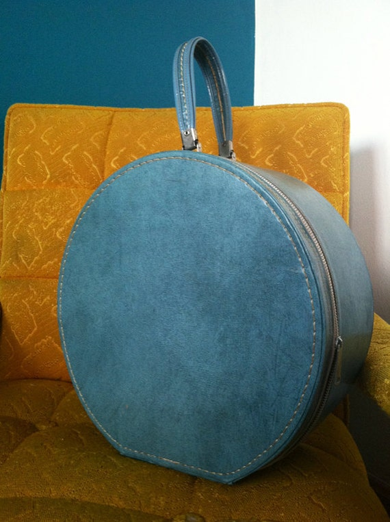 Vintage Leather Hat Box or Suitcase