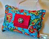 Floral Cotton  Tooth Fairy Pillow with Rhinestone Button- Turquoise, Bright Pink, Bling Button- Option to Personalize