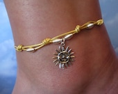 Leather Anklet with Sun Charm