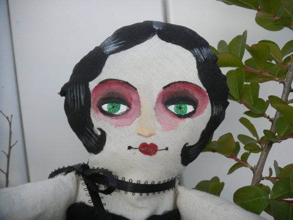 Hand Crafted and Painted Theda Cloth Art Doll. OoaK Custom Design.