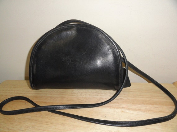 Small Black Leather Coach Cross-Body Bag No. 0668-330 Made In USA
