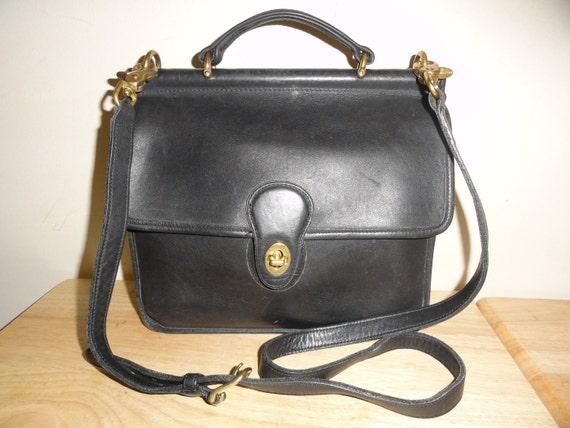 Vintage Black Leather COACH WILLIS Shoulder Bag No. B0C-9927 Handcrafted In US