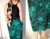 Vintage 80s Skirt (m - l) turquoise, floral, flowers, dress, spring, summer, medium, large, long