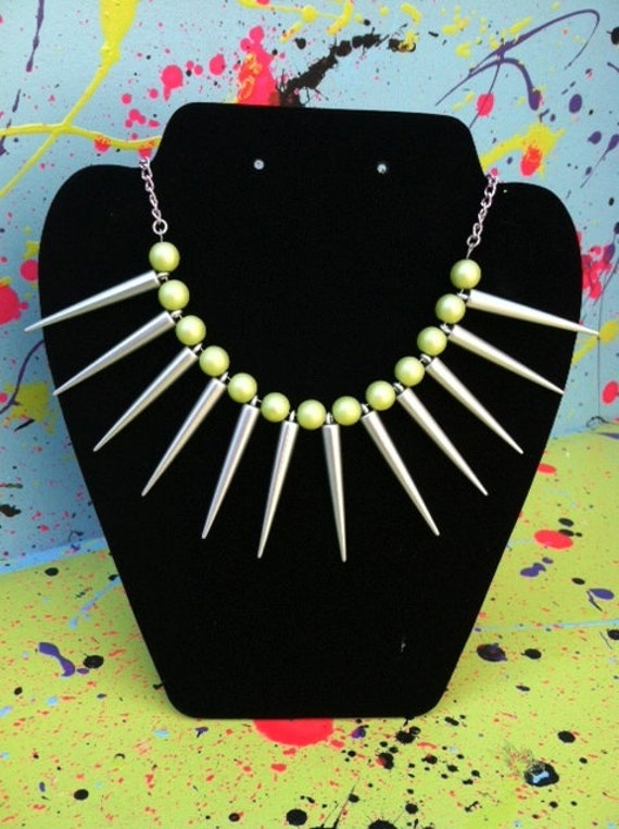 Silver and Neon Spike Necklace