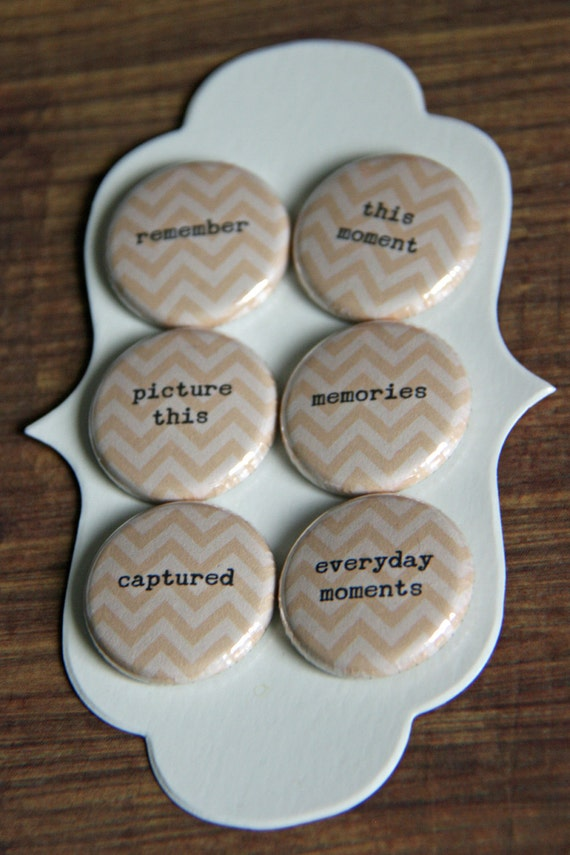 project life & photo words - chevron cream/beige flair buttons