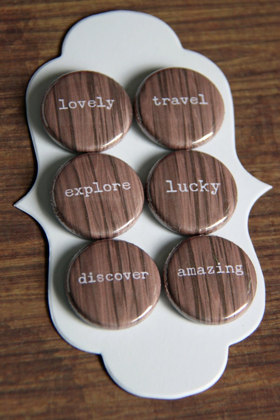 woodgrain travel words flair buttons
